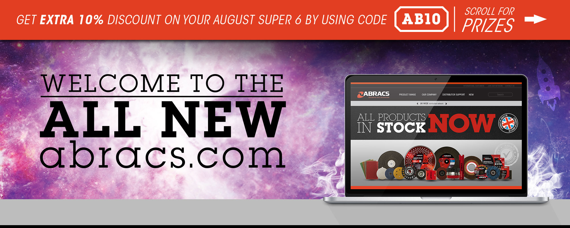 welcome to the all new abracs.com get an extra 10% discount off Super 6 Promotions by using code AB10 scroll for more details
