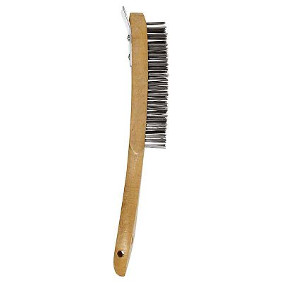 Wooden Handled Brush With Scraper